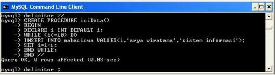 Create Procedure isiData()